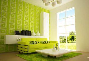 Warna Keramik Putih Akan Sangat Tepat Apabila Dikombinasikan Dengan Sofa Yang Berwarna Hijau Muda Untuk Menambah Kenyamanan Para Tamu Maupun Keluarga
